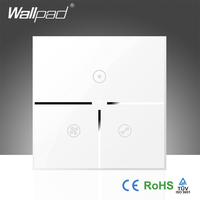 Wallpad White Glass LED 110~250V EU Wireless 3 Gang Wifi Electrical Remote Touch Control 3 Speed Rotary Fan Switch Free Shipping smart home eu touch switch wireless remote control wall touch switch 3 gang 1 way white crystal glass panel waterproof power