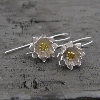 52a591157f9d Лидер продаж два тона 925 стерлингов Серебряные серьги ювелирные изделия  стерлингового серебра 925 длинные цветок лотоса серьги для Для женщи.
