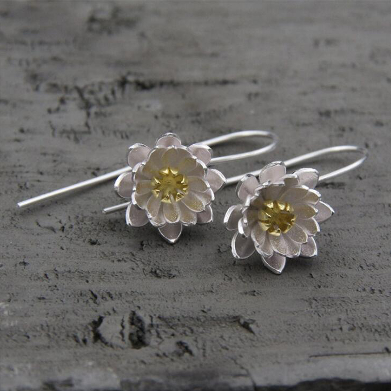 Hot Sale Two Tone 925 Sterling Silver Earrings Jewelry 925 Sterling Silver Long Lotus Flower Earrings For Women AccessoryTYC2311