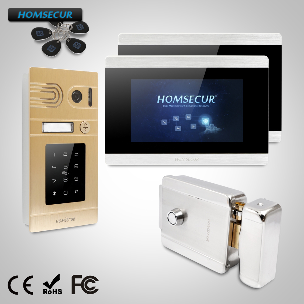 HOMSECUR 7 Wired Hands-free Video Door Entry Security Intercom Motion Detection Electric Lock with Keys  BC071-G + BM715-SHOMSECUR 7 Wired Hands-free Video Door Entry Security Intercom Motion Detection Electric Lock with Keys  BC071-G + BM715-S