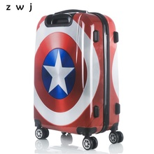 New High quality Captain America suitcase luggage/men and women Marvel hero