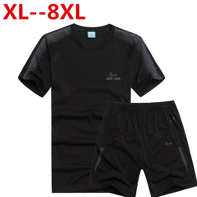 PLUS size 10XL 9XL 8XL 7XL 6XL 5XL Men SportSuit Summer Style Gradient Short Sleeve T-shirt Short Male Tracksuit Man t Shirt