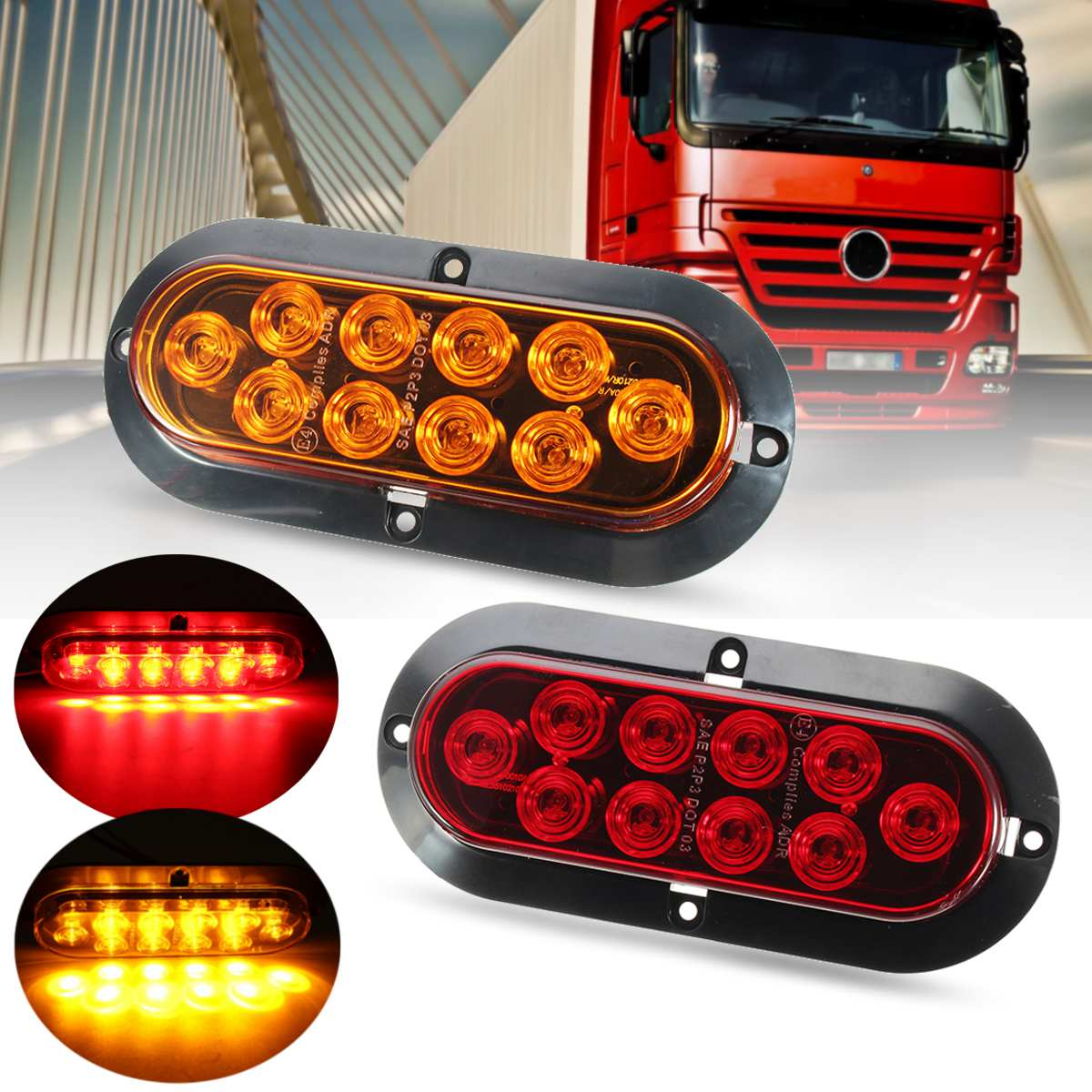 Truck trailer 10 led 6 oval amber red surface mount turn signal truck trailer 10 led 6 oval amber red surface mount turn signal stop tail light in car light assembly from automobiles motorcycles on aliexpress aloadofball Image collections