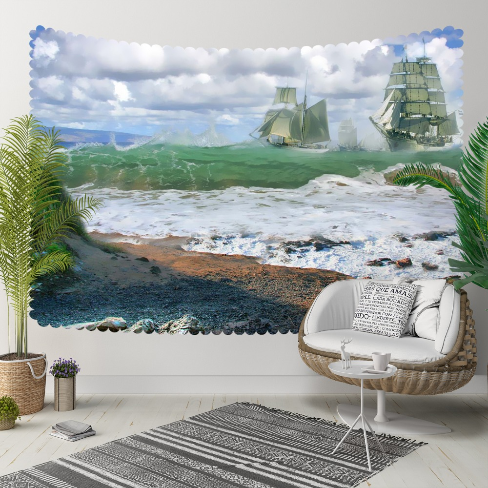 Else Tropical Green Sea White Waves Ships Blue Sky 3D Print Decorative Hippi Bohemian Wall Hanging Landscape Tapestry Wall Art