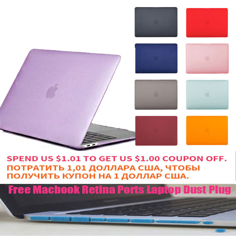 Scrub Laptop Case For Macbook Pro 13 15.4 Inch For Macbook Air 13 Retina 11 12 15  With TMacbook Retina Ports Laptop Dust Plug