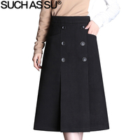 Women's Clothing Double Breasted Mid Long Wool Skirts 2018 New Black Brown High Waist A Line Skirt S 3XL Ladies Winter Skirt