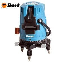 Лазерный уровень автоматический Bort BLN-15 (2 лазерных направляющие, рабочий диапазон до 15 м, сумка и очки для обнаружения луча)