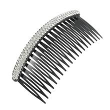 MYTL Silver Tone Stripe Rhinestone Plastic Black Hair Comb for Ladies