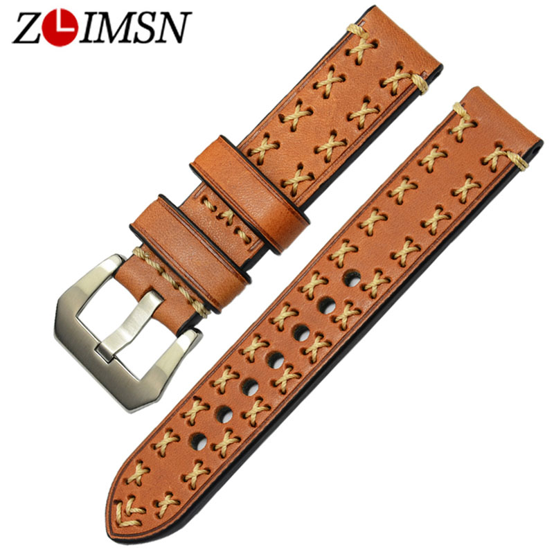 ZLIMSN High Quality Thick Genuine Leather Watchbands 20 22 24 26mm Brown Watch Strap 316L Brushed