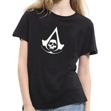 Fashion Women's Skull Pattern T-shirt Top Soft Cotton Casual Short Sleeve Lovers T-shirt S