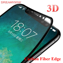 ФОТО 3d curved coated carbon fiber edge tempered glass for iphone x 8 8plus 7 7plus 6 6s 6plus 6splus 9h glossy screen protector film