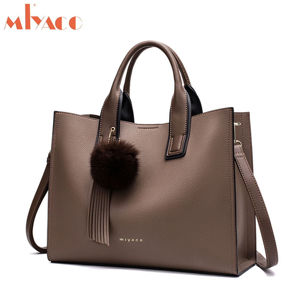 Miyaco Women Leather <font><b>Handbags</b></font> Casual Brown Tote bags Crossbody Bag TOP-handle bag With Tassel and fluffy ball