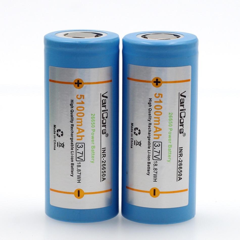 VariCore 26650 lithium battery, 3.7V 5100mAh, 26650 rechargeable battery, 26650-50A suitable for flashlight, 2pcs original g power 26650 battery 4200mah capacity 3 7v rechargeable electronic cigarette battery for 26650 battery box bod
