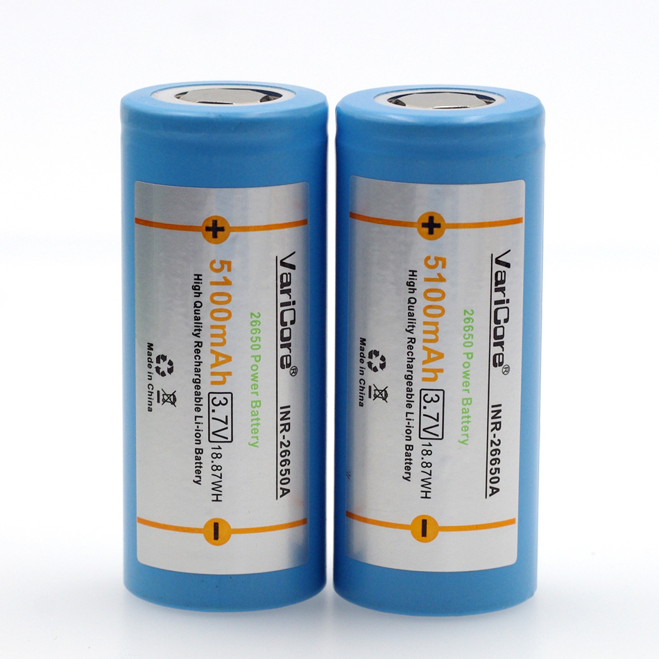 VariCore 26650 bateria de lítio, 3.7 V 5100 mAh, 26650 bateria recarregável, 26650-50A adequado para lanterna,