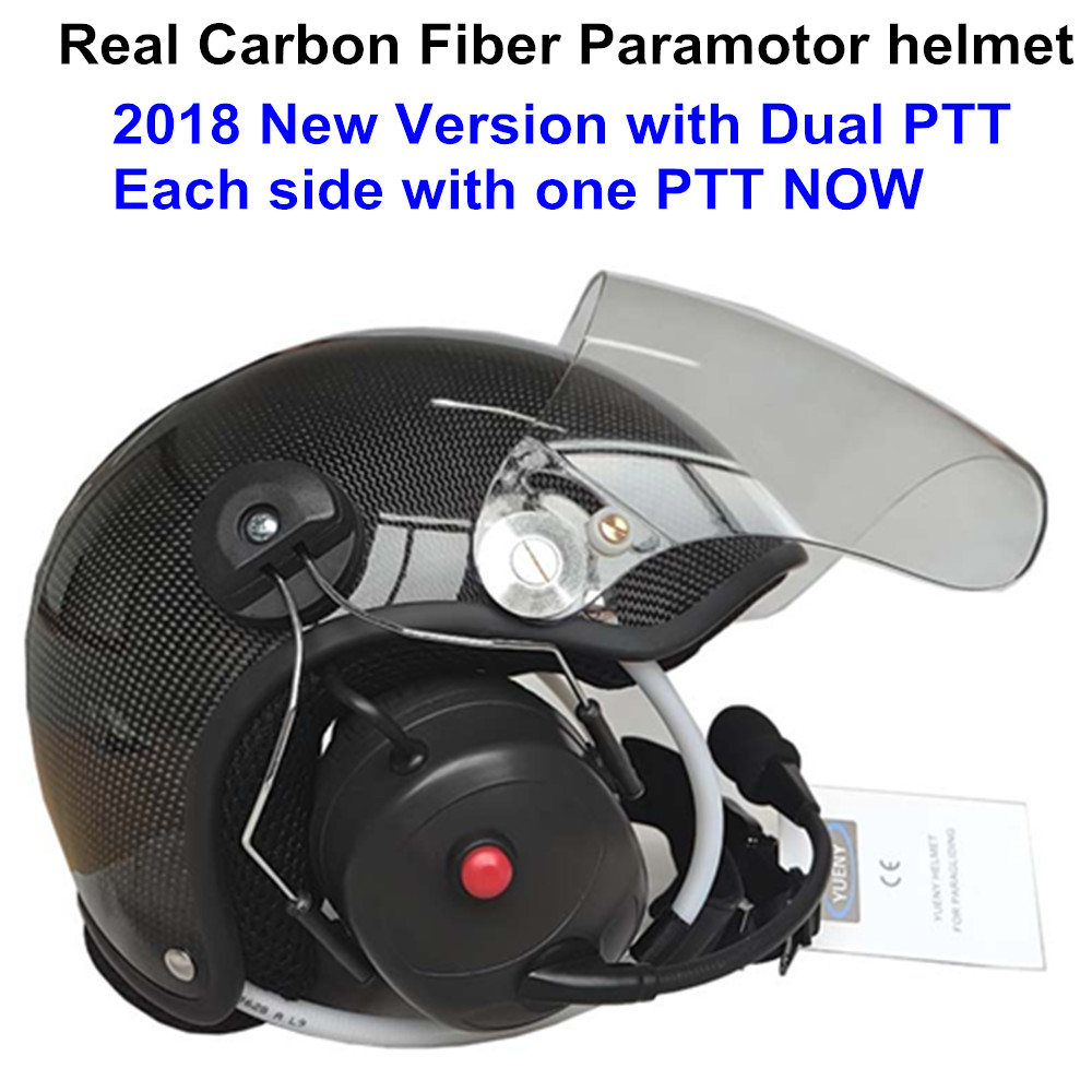 YUENY Real carbon fiber paramotor helmet with full noise canceling headset powered paragliding helmet suit almost