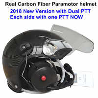 YUENY Real carbon fiber motorschirm helm mit voll noise cancelling headset powered paragliding helm anzug fast arten radio
