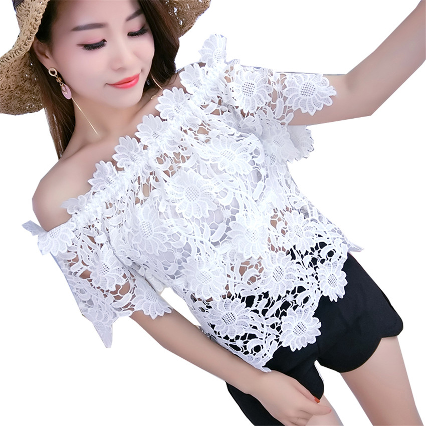 New Summer Sweety Girl Off Shoulder Lace Blouse Women Hollow out Shirts Spring Short Sleeve Blousas Basic Tops Bottomings WZ322