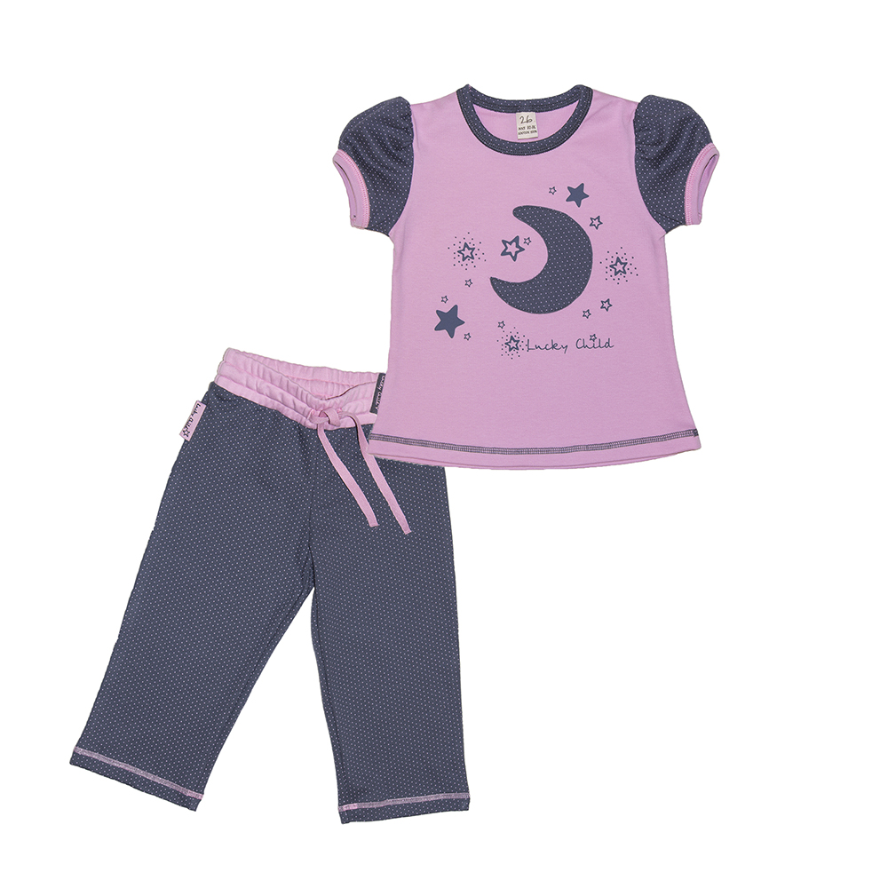 Pajama Sets Lucky Child for girls 12-403 (3T-8T) Children clothes kids clothes spring clothes new pattern girl korean trend fashion leisure time letter girl child cowboy 2 pieces kids clothing suits sets
