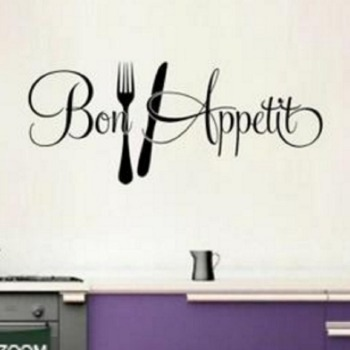 New Removable Bon Appetit Words Pattern Kitchen Dining Wall Sticker Home Room Decor Waterproof Stickers New Promotion image