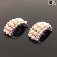 New Style Crystal Pearl Alloy Button For Headband Accessory For DIY Hair Clip / Ring