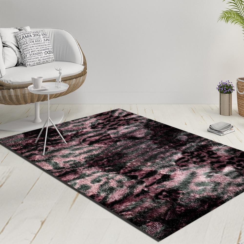 Else Purple Pink Black Vintage Leopard Fur Decorative 3d Print Anti Slip Kilim Washable Decorative Kilim Rug Modern Carpet