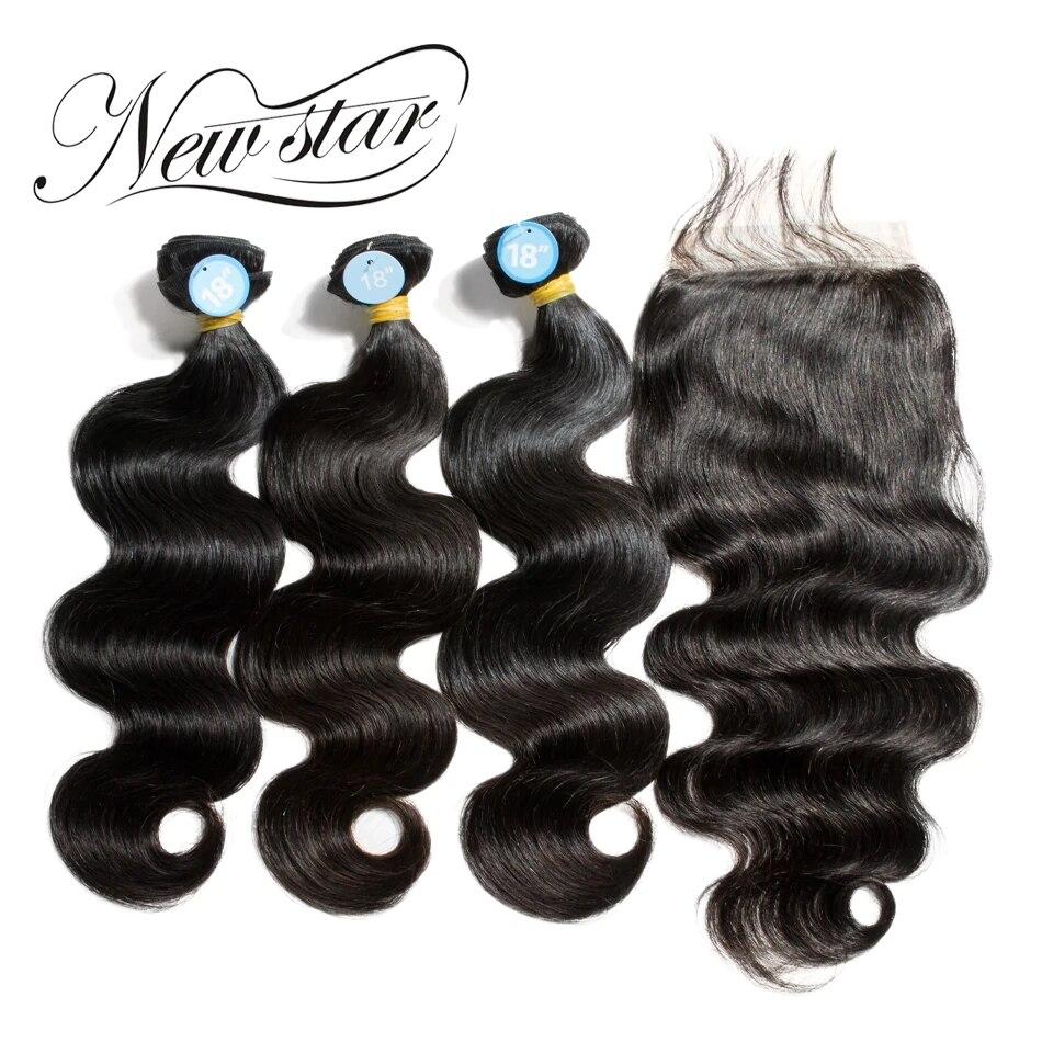 NEW STAR 3 Bundles Avec Fermeture Vague de Corps Brésilien Partie Libre Cuticules Alignés Épais Vierge Humains Weave Extension de Cheveux