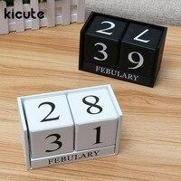 Kicute European Perpetual Wooden Calendar Desktop Pen Holder Block Wood Calendar DIY Yearly Planner Home Desk