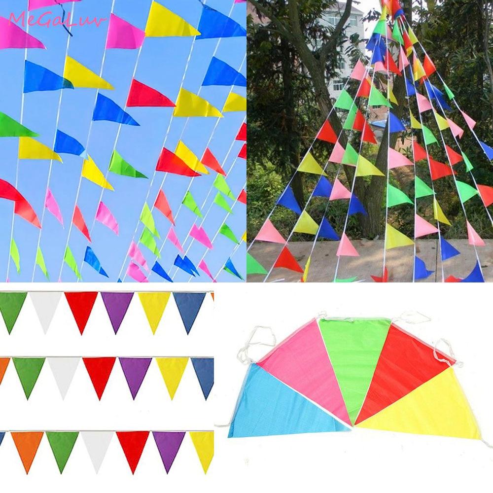 50 Meter Regenbogen Wimpel Outdoor Banner 100 Fahnen Nylon Werbung Hängen Flagge Hochzeit Decor Geburtstag Partei Liefert