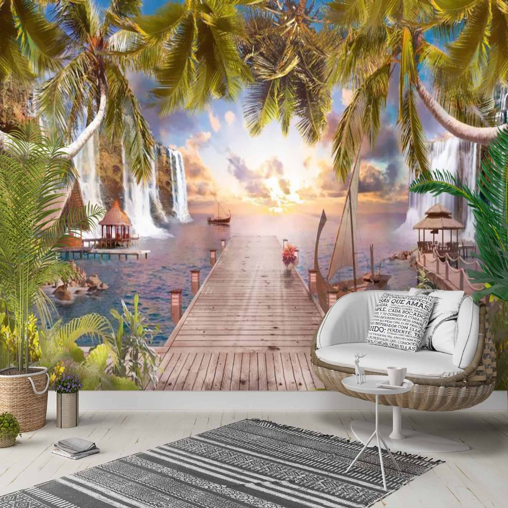 Else Green Palm Trees Sea Wood Scaffolding 3d Photo Cleanable Fabric Mural Home Decor Living Room Bedroom Background Wallpaper