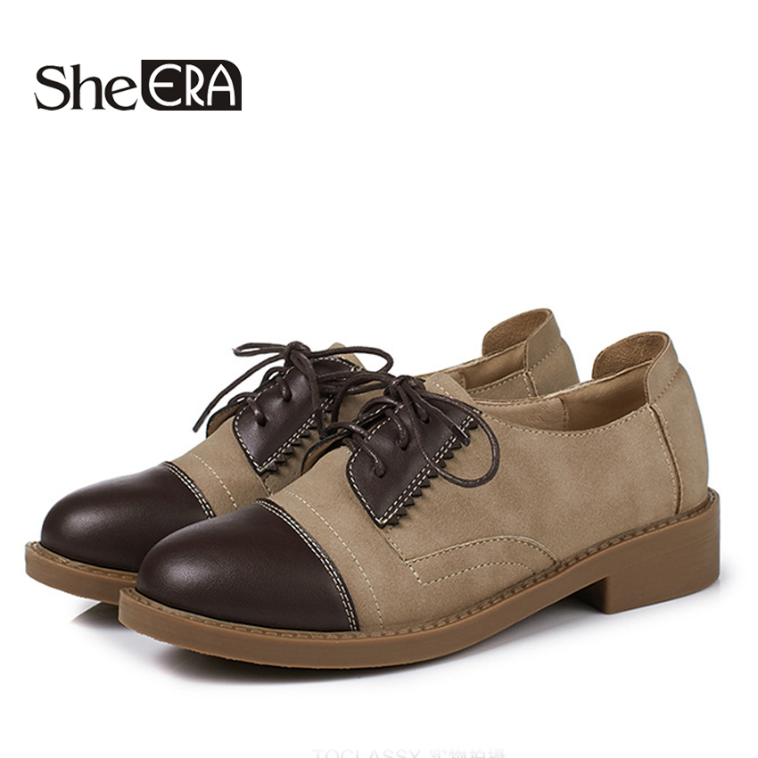 She ERA 2018 Autumn women sneakers oxford shoes flats shoes women   leather     suede   lace up boat shoes round toe flats moccasins
