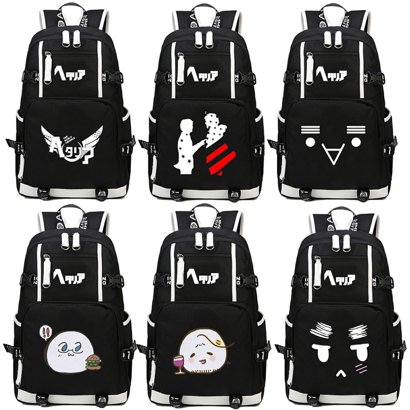 anime Axis Powers Hetalia APH Backpack cartoon Anime Women Men Cosplay canvas Luminous Laptop Schoolbag Travel Rucksack шина bfgoodrich mud terrain t a km2 9 0 r15 104q