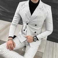 Британский стиль двубортные костюмы мужской костюм Мода Повседневная Корейская полосатые костюмы мужские из трех частей жениха платье