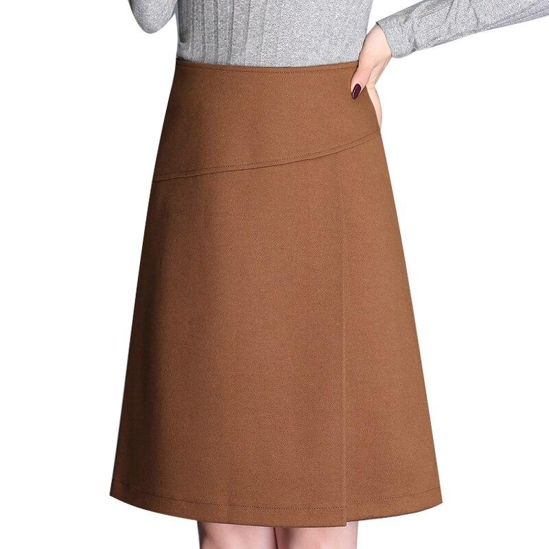Grinding Knit Skirts Womens 2018 Black Brown Stitching High Waist Line Skirt 3xl