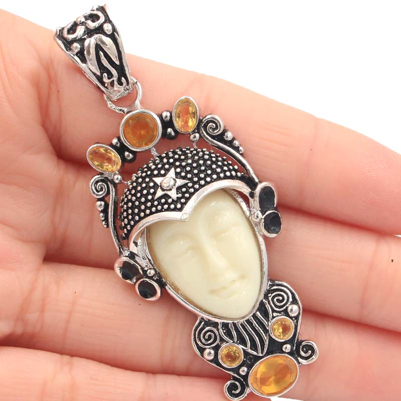 SheCrown Special 15.4g Egypt Goddess White Face Golden Citrine Gift Silver Pendant 66x28mm