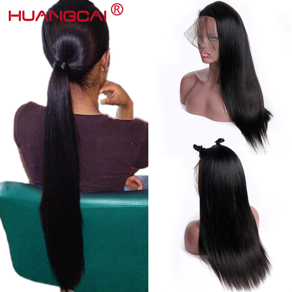 180 Density Pre Plucked Lace Front Human Hair Wig Glueless Brazilian Straight Lace Frontal Wig For