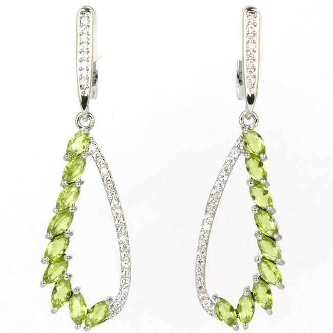 Romantic Green Peridot White CZ Woman's Present 925 Silver Earrings 45x13mm