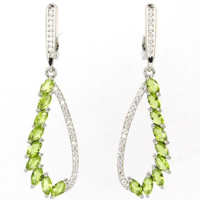 Romantic Green Peridot White CZ Woman's Present 925 Silver Earrings 45x13mm