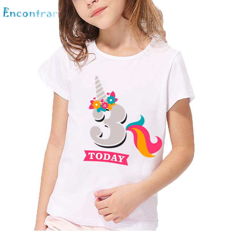 Girls Birthday Unicorn Number 1-9 Print T shirt Baby Funny Summer White Tops Kids Happy Birthday Present Number T-shirt,HKP2431 minnie dots 4th birthday number minnie print tank top with white ruffles