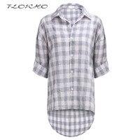 Plus Size Women Autumn Fashion Shirts Blouses Plaid Shirt Casual Drop Shoulder Ladies Loose Rolled Tap