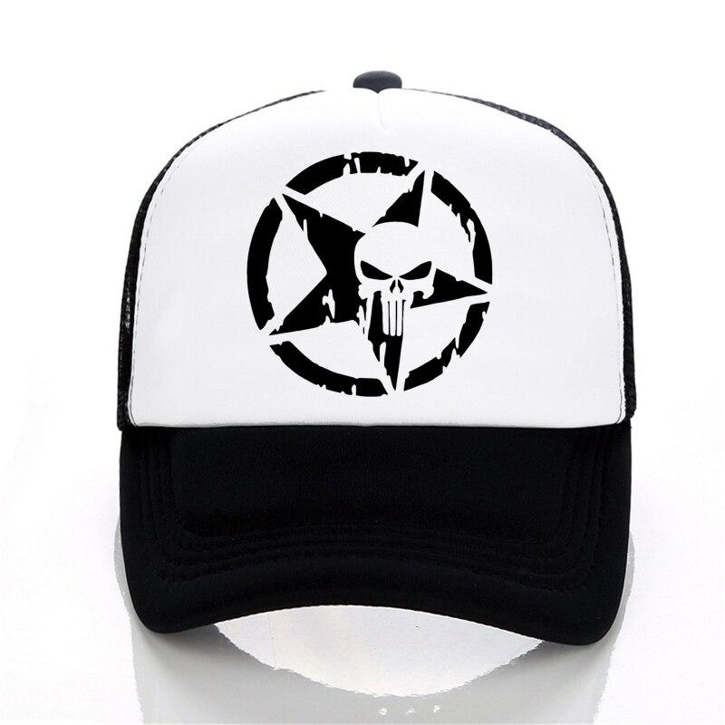 Punisher   Baseball     caps   summer Men and women trucker   cap   Casual outdoor Mesh   cap   hip hop snapback hats Frank Castle hat