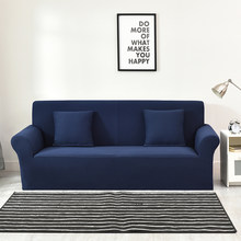 Blue Plaid Knitted Thick l shape cover sofas Universal Stretch Couch/Corner Sofa Slipcovers furniture protector cover/slipcover(China)