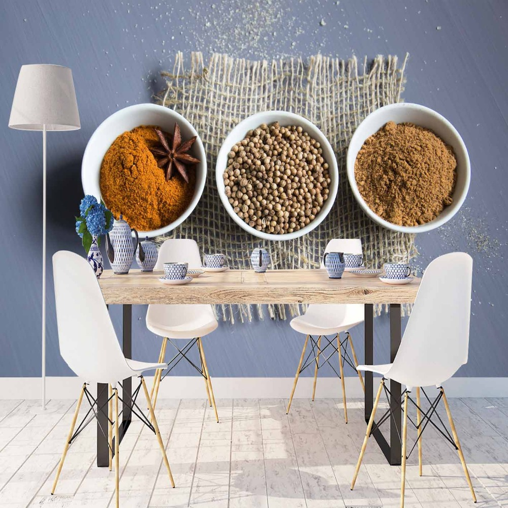 Else Gray Wicker On Brown Orange Spices 3d Print Photo Cleanable Fabric Mural Home Decor Kitchen Background Wallpaper