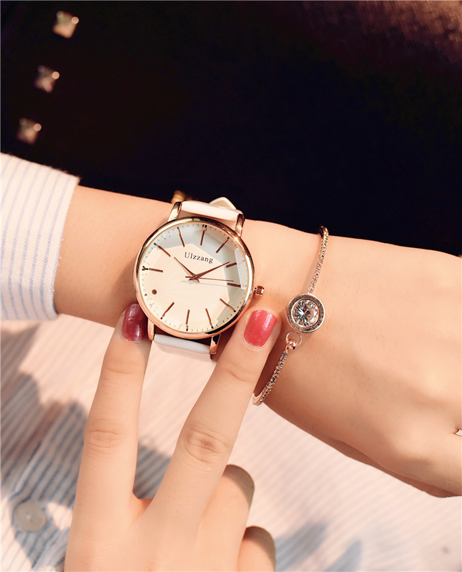 2017 Minimalism Casual Women Watches Simple Stylish White Quartz Wristwatch for Lady Luxury Business Dress Watch Woman Business