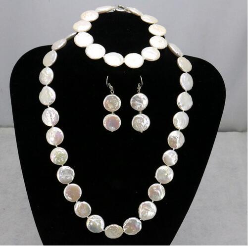 Nouvelle vente! 11-12mm pièce forme blanc perle bijoux collier bracelet ensemble>>> filles choker collier pendentif livraison gratuite