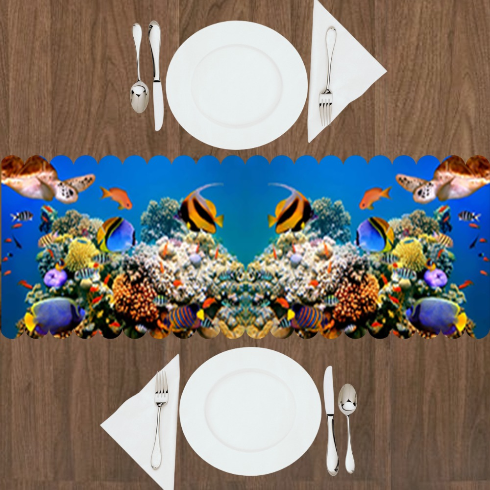 Else Blue Under Sea Aquarium Tropical Yellow Fishes 3d Print Pattern Modern Table Runner For Kitchen Dining Room Tablecloth