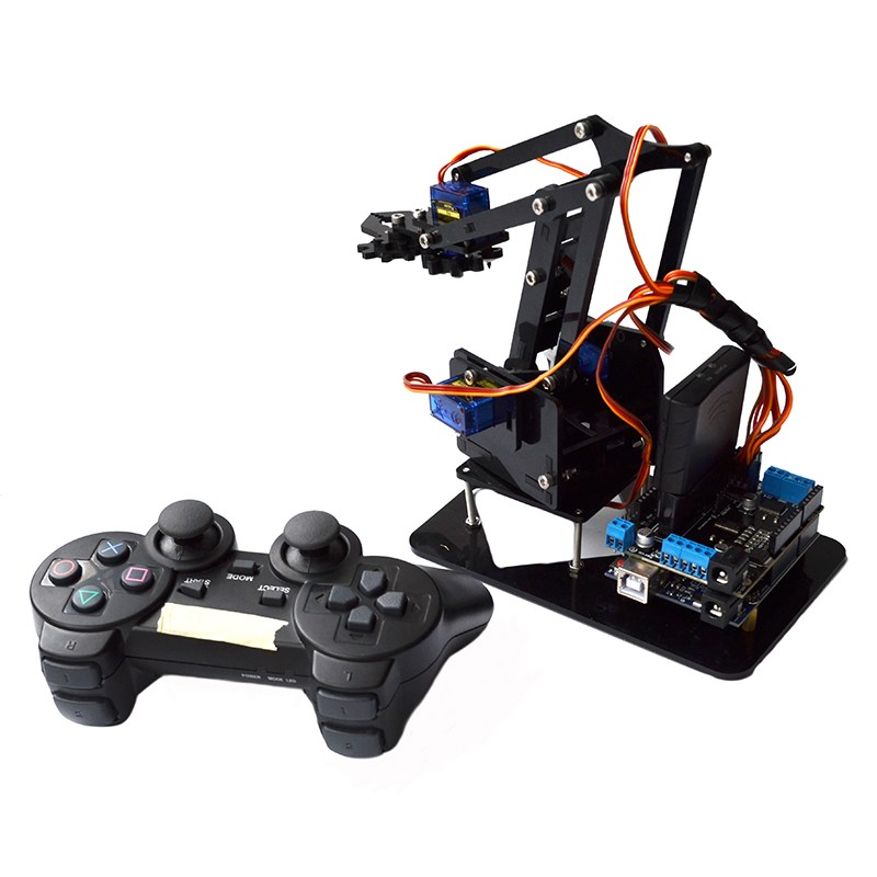 Acrylic Mental Remote Control Robot Arm 4DOF With for Arduino PS2 RC Robot Toys Models with 2 Strong Motor Remote Controller arduino plotclock robot kit drawing program acrylic arm