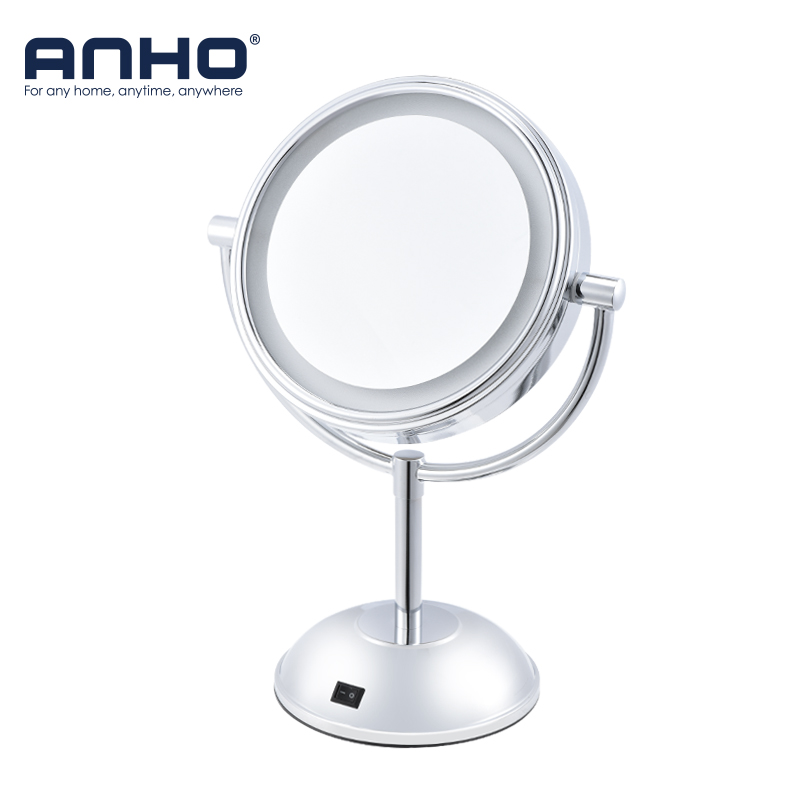 ANHO LED Bath Mirror 1X/5X Magnification Adjustable Desk Stand Double-Sided Mirror Portable Cosmetic Makeup Switch Bathroom 6 inch 5x magnification cosmetic makeup mirror round shape 2sided rotating magnifier mirror led light makeup mirror for gift