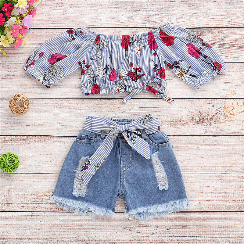 Mother & Kids Ishowtienda Baby Girl Summer Clothes Infant Clothing Floral Striped Off Shoulder Tops+denim Shorts Jean Roupa De Bebe Menina Skilful Manufacture Girls' Baby Clothing