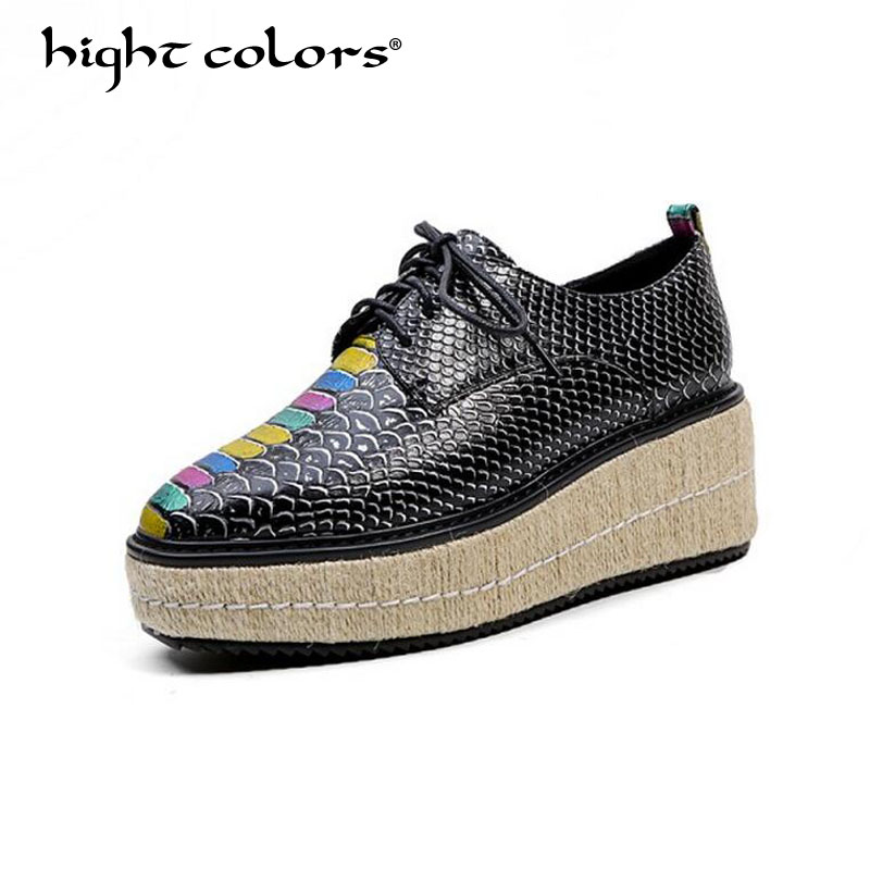 Women Casual Shoes 2018 Fashion Square Toe Lace Up Wedges Female High Heels Platform Shoes Vintage Pumps BIG Size 34-43 HC022 europe america fashion star cutout lace up high heel shoes for women square toe platform wedges brogue oxford casual shoes us 10