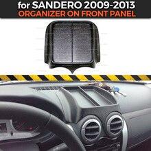 Органайзер на передней панели для Renault Sandero 2009-2013 Пластиковая консоль из АБС-пластика тисненые карманные аксессуары для стайлинга автомобилей
